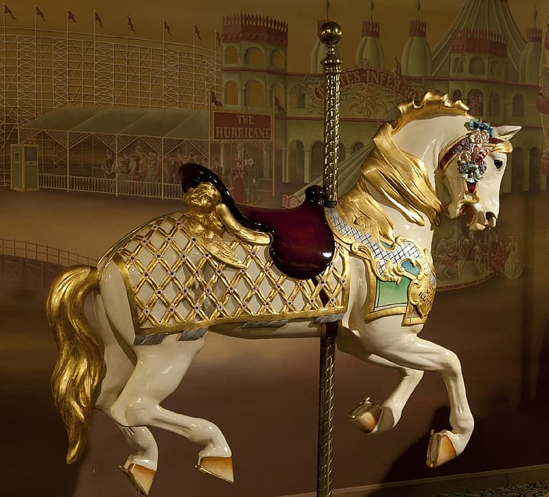 White and yellow horse carousel
