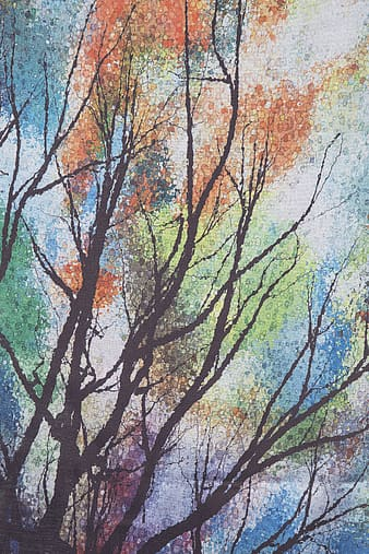 Brown and multicolored tree painting