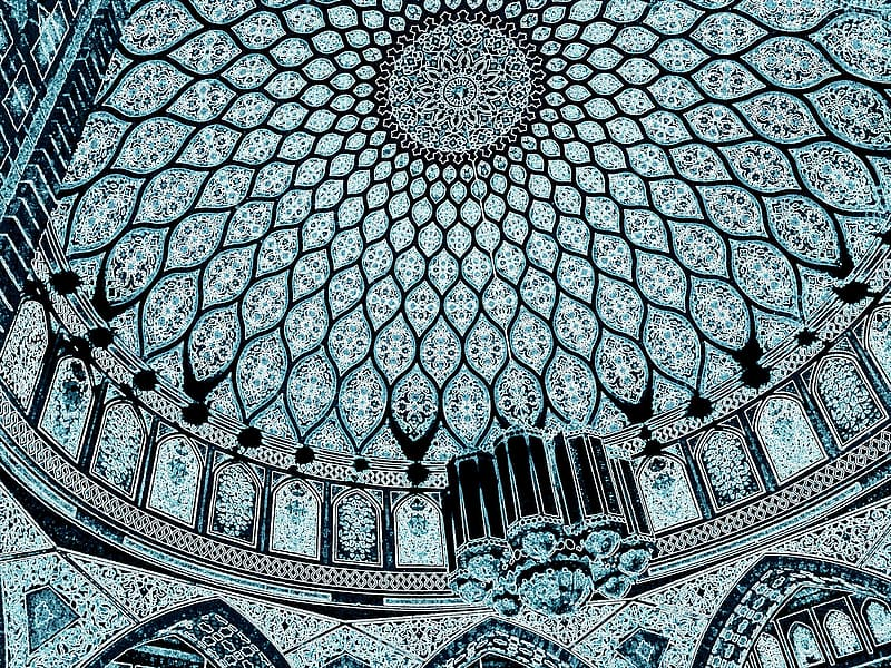 Blue, white, and black floral dome structure interior
