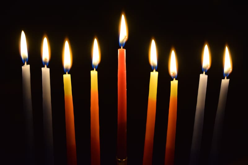 Nine red and white candles