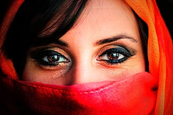 Woman wearing red veil