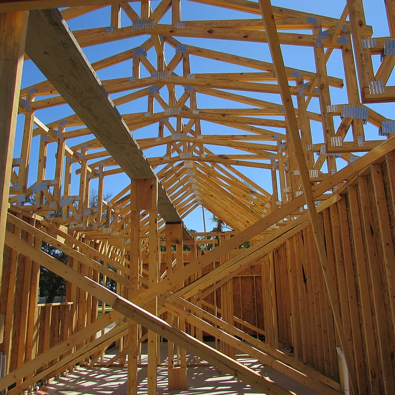 Brown wooden structure frame outdoors