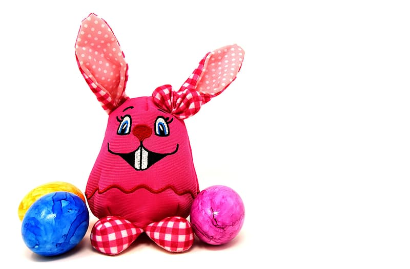 Red and blue rabbit plush toy