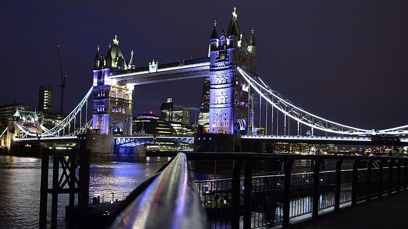 Photo of lighted tower bridge during night time