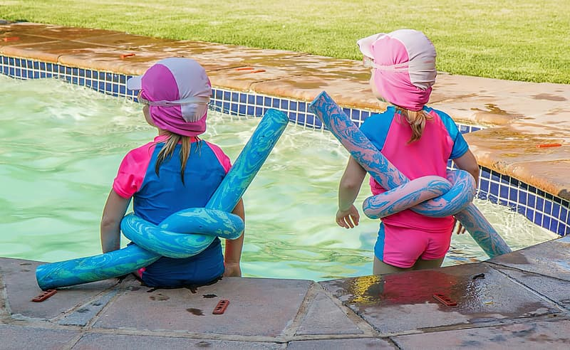 Two children on pool