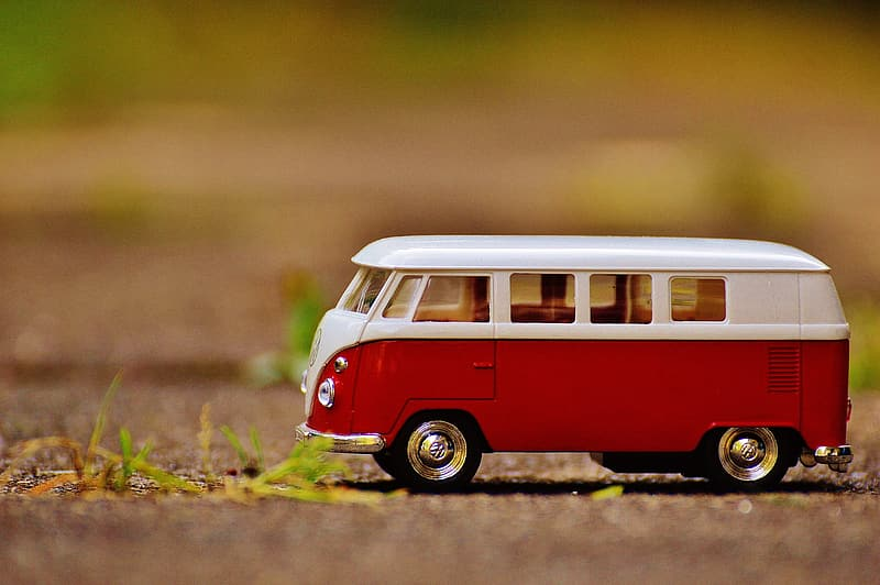 Red and white volkswagen t-2 scale model