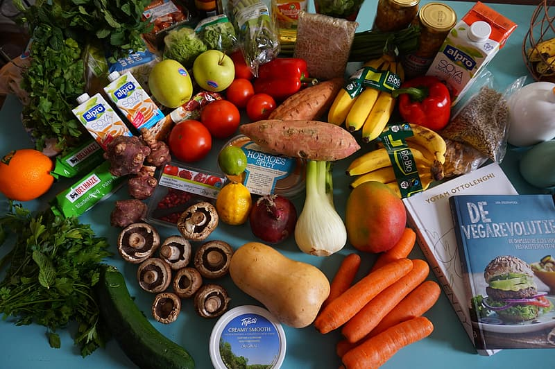 Table full of fruits and vegetables