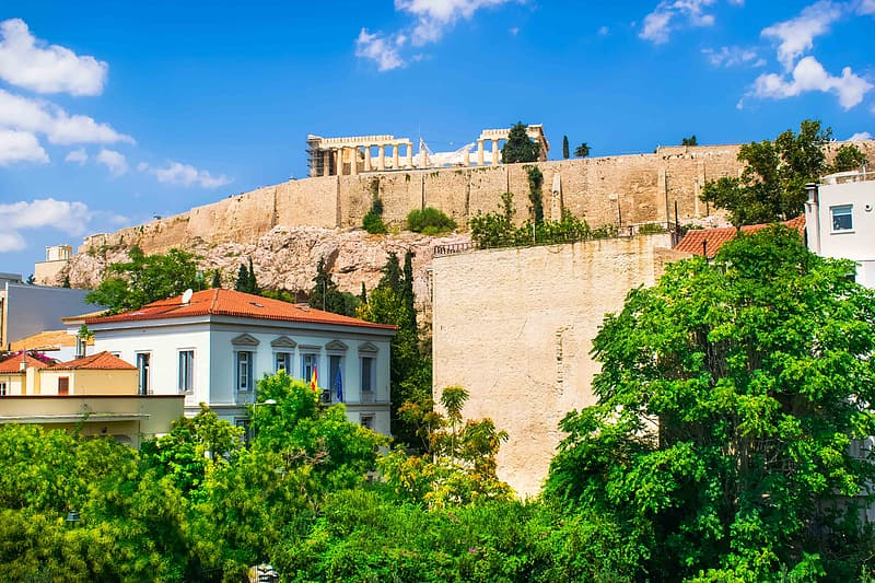 A sunny view of the Acropolis.