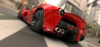 Red and black sports coupe