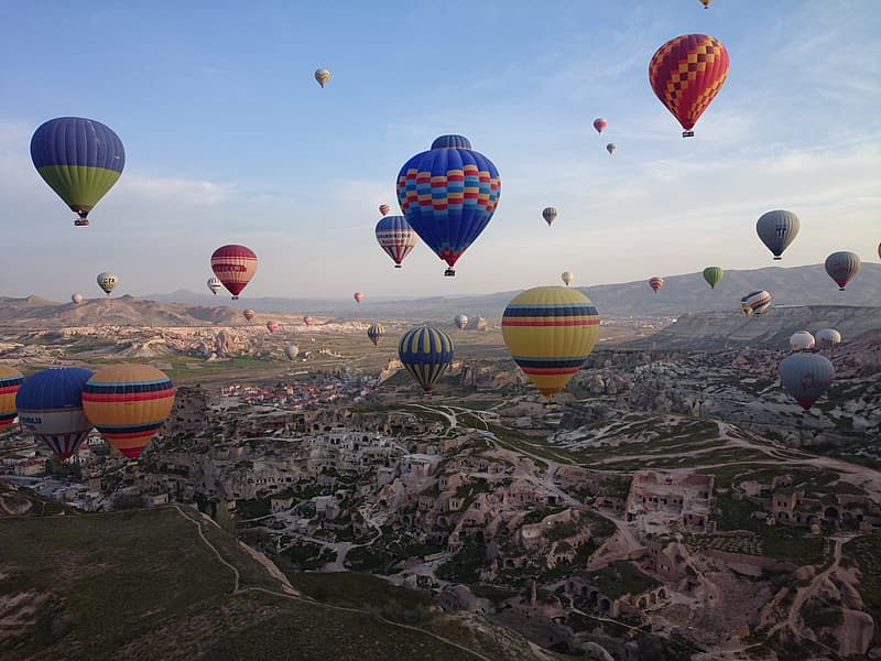 Aerial view of hot air balloons during daytime