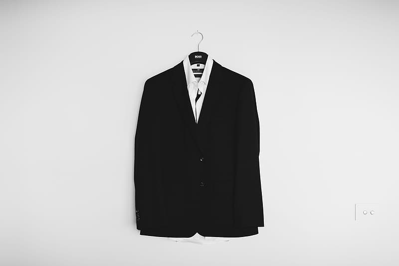 Black suit jacket and white dress shirt