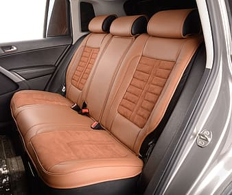 Brown leather car seat