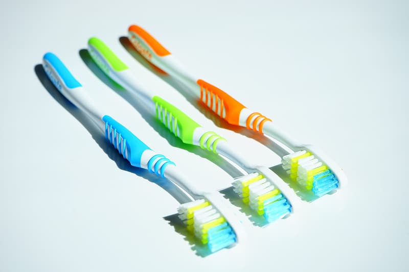 White orange and blue toothbrush