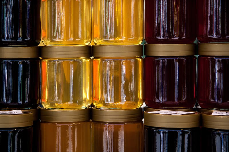 Red and yellow tinted glass jars
