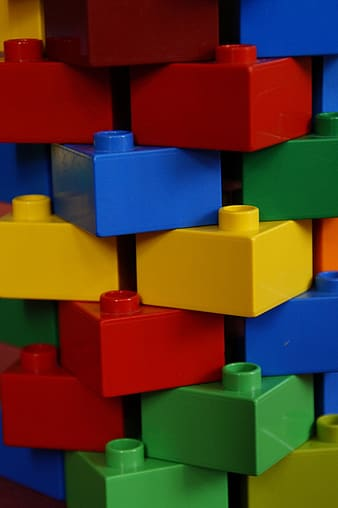 Yellow blue and red plastic blocks