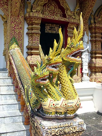 Three-headed Naga temple protector at Wat Bupparam Buddhist Temple in Chiang Mai in north Thailand
