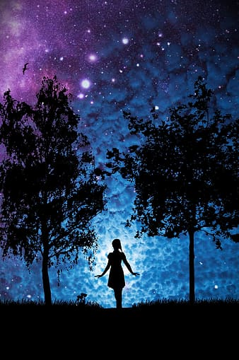 untitled, star, woman, trees, silhouette, girl, light, mystical, sky, clouds