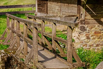 Mini brown wooden bridge surrounded by green grass at daytime