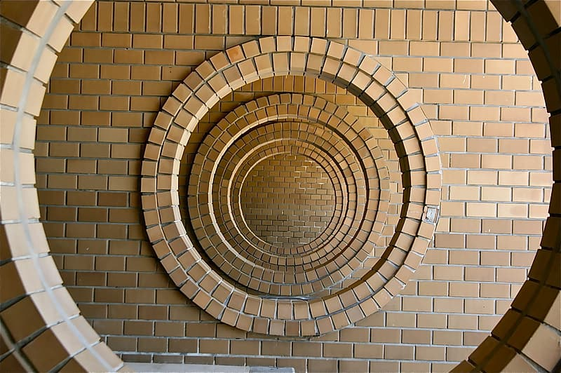 Round brown and white wall decor