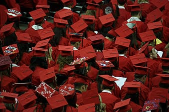 Photo of people in red academic dress and caps