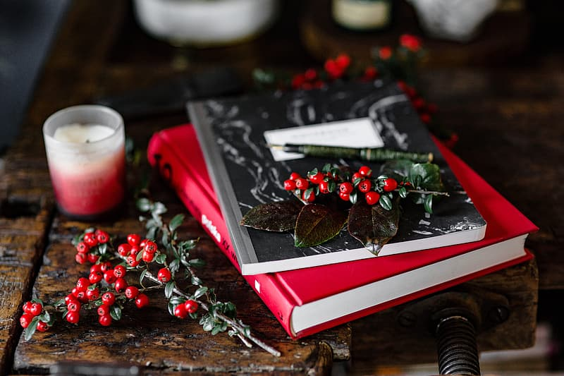 Books and Fresh Holly