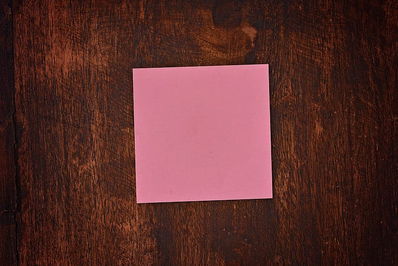 Empty pink post-it note