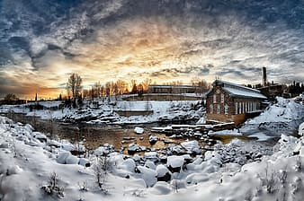 Panorama photography of house and trees covered with snow
