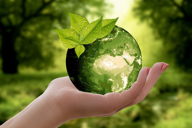 Person holding green crystal ball