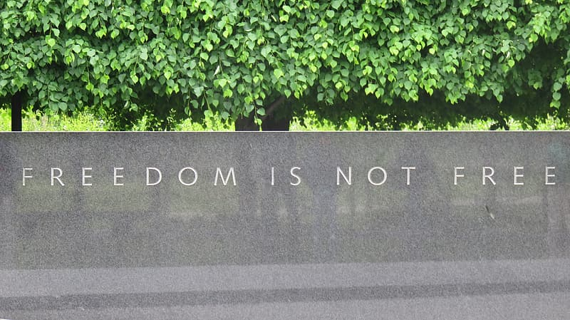Gray monument with freedom is not free engrave outdoor