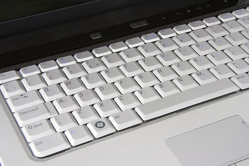 White and black laptop
