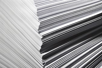 White and blue paper stack