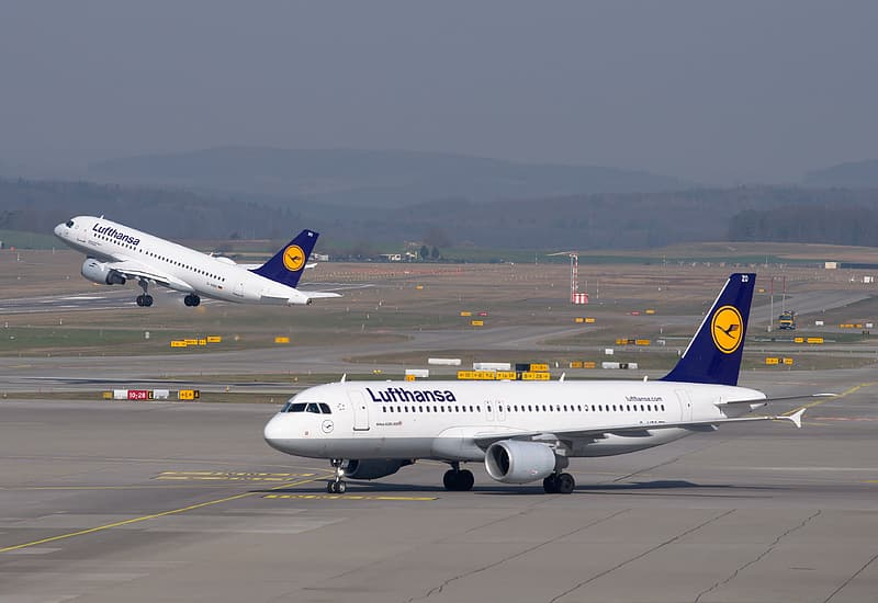 Photo of blue and white Lufthansa airplane on airline