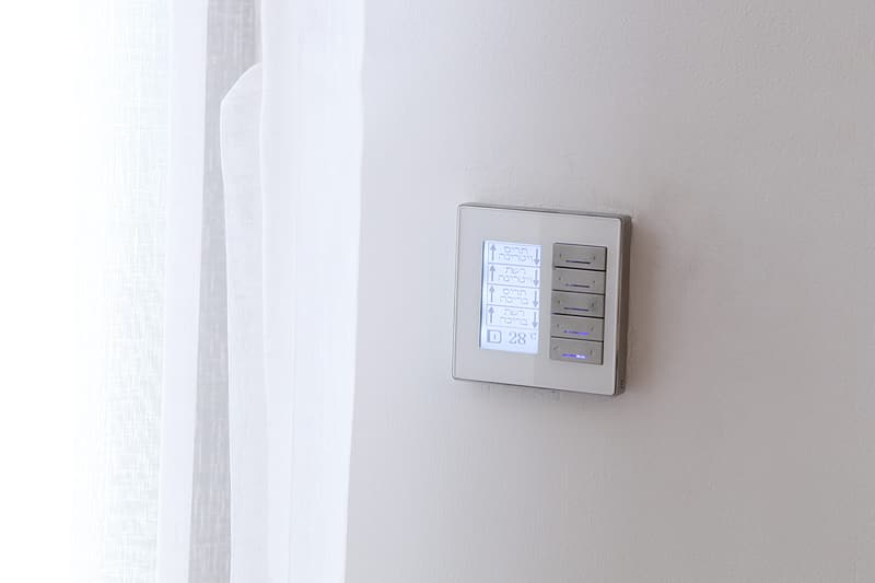 White thermostat at 20 5
