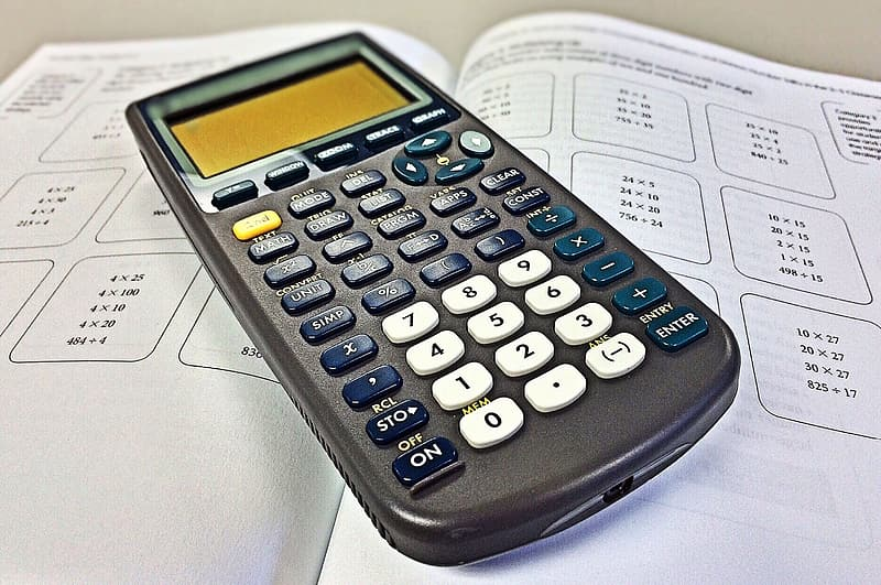 Black Texas Instruments graphing calculator