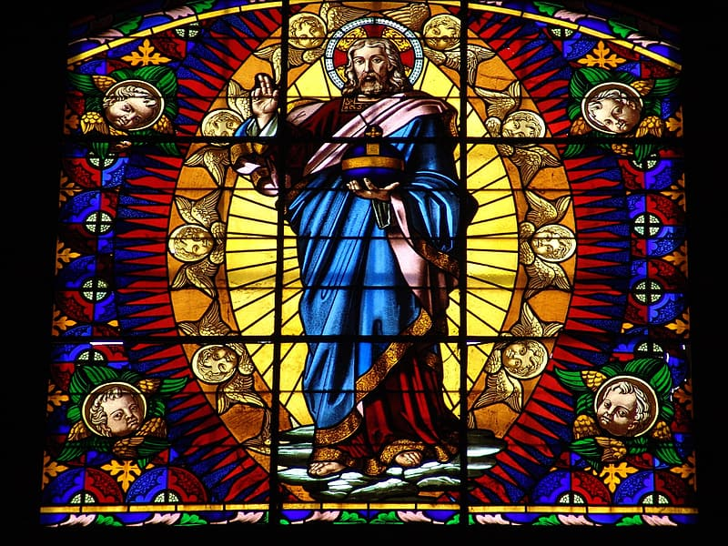 Religious stained glass artwork