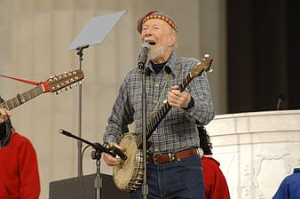 Man in blue and white plaid button up shirt playing musical instrument