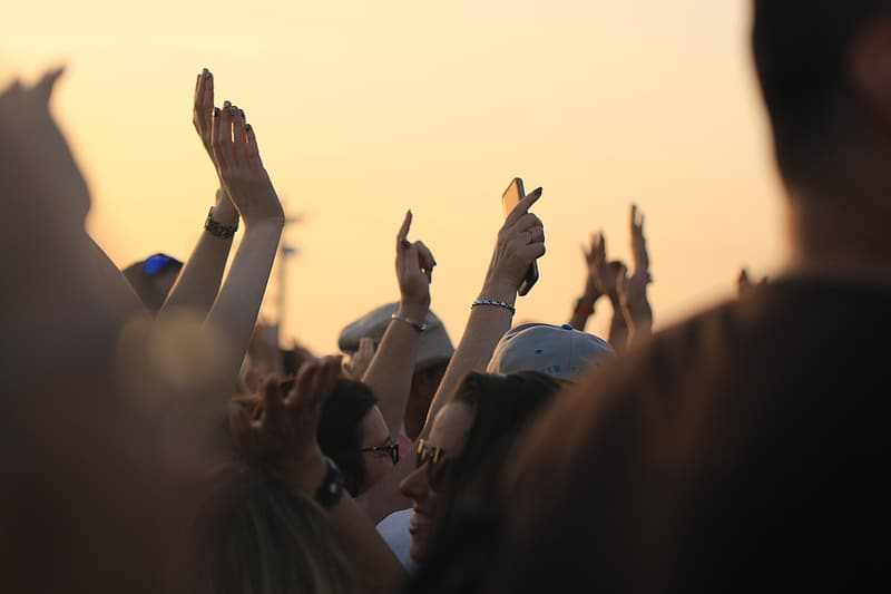 People raising their hands during sunset