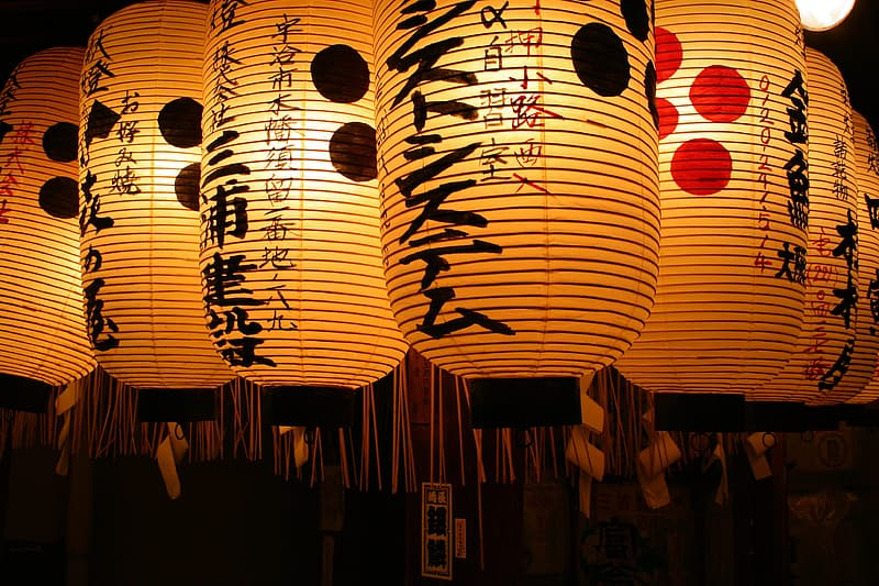 Shallow focus photography of brown-and-black paper lanterns