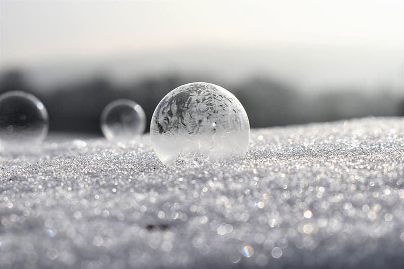Round bubble on gray surface