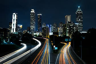 City landscape during night time