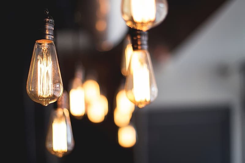 Selective focus photography of light bulb