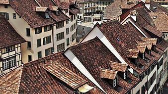 Aerial photography of village houses during daytime