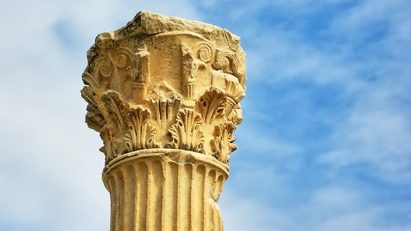 Close up photography of beige column