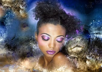 Woman wearing purple eyeshadow wallpaper