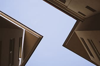 Low angle view of brown concrete building