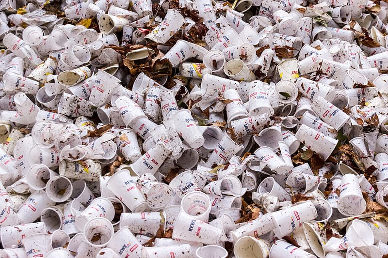 Pile of white plastic disposable cup photography
