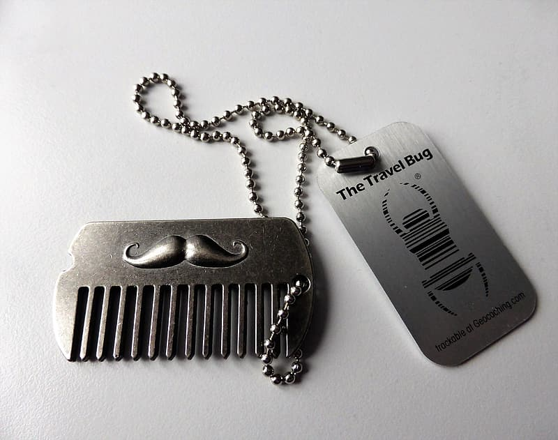 Silver-colored comb dog tags
