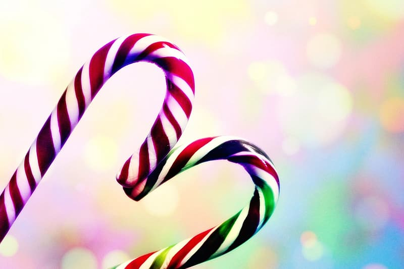 Two candy canes forming heart bokeh photography