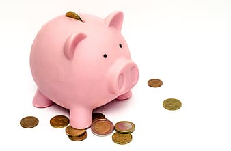 Pink piggy bank and gold-colored coins