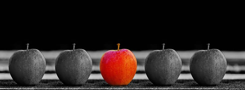 Selective focus photography of 5 apples